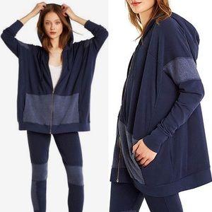 Wildfox Oversized Phoenix Zip Hoodie Jacket Blue